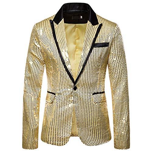 MIRRAY Charm Herren Casual One Button Fit Anzug Blazer Mantel Jacke Pailletten Party Top