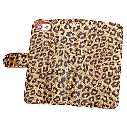 Blumen Hülle für iPhone 7,Leder Hülle für iPhone 7,iPhone 7 Schwarz Leder Handy Tasche Wallet Case Flip Cover Etui für iPhone 7 4.7 Zoll 2016,EMAXELERS iPhone 7 Case Leder Leather Solid Schmetterling  Leopard 3