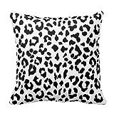 Animal Pattern - Leopard Black White Pillow Cover Case Square Decorative