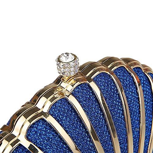 Genda 2Archer Mini Sacchetto di Partito di Sera Della Seashell Borsa Della Frizione Delle Donne(15cm*14cm) Blu