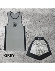 Garçons - Ensemble uniforme de boxe 2 pièces (haut & short) - Gris, 11-12 ans