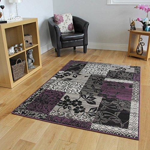 The Rug House Tappeto Patchwork, Disponibile in 5 Formati, Colori: Viola, Nero e Grigio