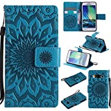 For Samsung Galaxy A3 Case [Blue],Cozy Hut [Wallet Case] Magnetic Flip Book Style Cover Case ,High Quality Classic New design Sunflower Pattern Design Premium PU Leather Folding Wallet Case With [Lanyard Strap] and [Credit Card Slots] Stand Function Folio Protective Holder Perfect Fit For Samsung Galaxy A3 2015 / SM-A300F 4.5 inch - blue