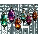 Auténtico estilo marroquí de linterna portavelas de cristal de colour tonale, dorado, Large Orange