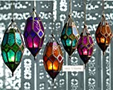 Authentic Moroccan Tonal Glass Hanging Lantern Tealight Holder (Small Purple) by SupremeBuy