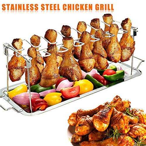 Autobestown Chicken Leg Wing Rack 14 Slots Stainless Steel Metal Roaster Stand with Drip Tray for Smoker Grill or Oven, Dishwasher Safe, Non-Stick