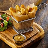 Mini Chrome Chip Abschnitt dient Präsentation Korb Frying Fischrogen (Pack of Four) 10 x 8 x 7 cm | Ideal für Chips, Pommes frites, Wedges, Zwiebelringe & Food Präsentation von Kitchen Stars