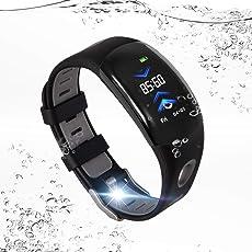 Fitness Armband mit Pulsmesser, IP68 Wasserdichte Stufe, ULYCOOL Fitness Tracker, Arbeitswissenschaft-Design, Aktivitätstracker, Schrittzähler, Kalorienzähler, Sleep Monitor, usw