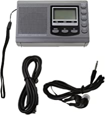 Segolike Grey Mini Pocket World Band FM/MW/SW Radio Receiver Stereo Speaker LCD Display