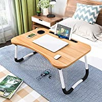Barbieya notebook table, dormitory with small desk, bed with laptop table, folding table, small dorm, with cup slot (60 x 40 cm). wood-coloured