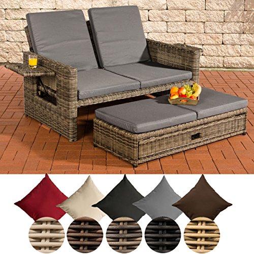 CLP Polyrattan 2er- Loungesofa Ancona I Garten-Sofa mit ausziehbarem Fußteil und Verstellbarer Rückenlehne Rattan Farbe grau-meliert, Bezugfarbe: Eisengrau