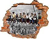 Fototapete 3D Bild Tapete Loch in der Wand New York City Stadt Bauherren bei der Arbeit Mittagessen Bremse auf der Höhe