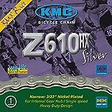 KMC Z610HX 1-fach Kette//112 Glieder, Dimension:1/2×3/32´´, Ausführung:Silber