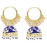 Yellow Chimes Meenakari Handcrafted Gold toned Traditional Jhumki Hoop Earrings for Women & Girls