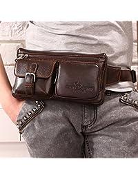 Buyworld New Men Genuine Cowhide Sling Chest Bag Vintage Belt Bum Travel Hip Bum Belt Pouch Fanny Pack Waist Purse...