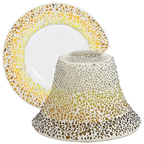 Yankee Candle Sunset Mosaic Large Lamp Shade and Tray Holder Set for Medium/Large Jar Candles Multi Coloured Beads Solid Glass Accessories Candle Lampshade Topper/Cover & Plate/Dish Indoor/Outdoor