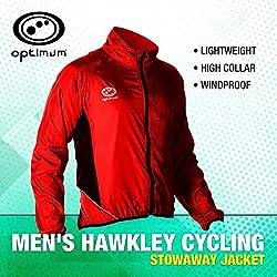 Optimum Cycling - Chaqueta de ciclismo para hombre, tamaño L, color rojo