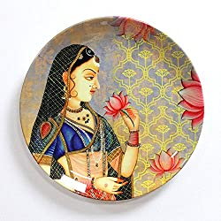 KOLOROBIA ROYAL MUGHAL QUEEN MUMTAZ INSPIRED HOME DECOR WALL PLATE 10 INCHES