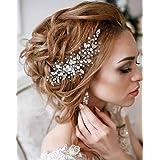 Simsly, fermaglio a pettine, accessorio per capelli, da sposa, con cristalli, frontino per donne e ragazze, colore: argento