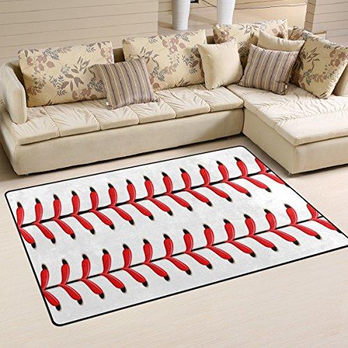Naanle Sport Softball-Baseballteppich mit roter Spitze, Rutschfest, für Wohnzimmer, Esszimmer, Schlafzimmer, Küche, 100 x 150 cm (Dekor Zimmer Baseball)