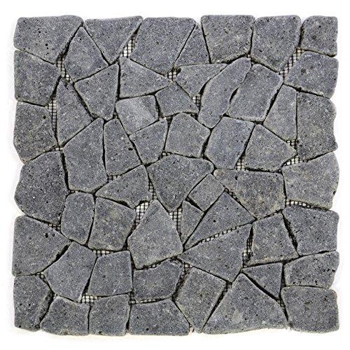 Divero HF55536 11 Fliesenmatten Naturstein Mosaik aus Andesit für Wand und Boden grau á 30 x 30 cm,