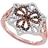 Sonia Jewels Anillo de Compromiso de Oro Rosa DE 10 Quilates, Diseño de Corazones de Diamante Redondos, Color Marrón Chocolate y Blanco, Forma de Centro de Flores (1/3 Quilates)