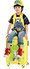 AASA Kids Travel Luggage Trolley Bags Cartoon Printed Luggage Suitcase with Trolly 4 Wheels for Children Tourist Bags with Kids Sling Bag for Travel Combo, Yellow, Pack of 1