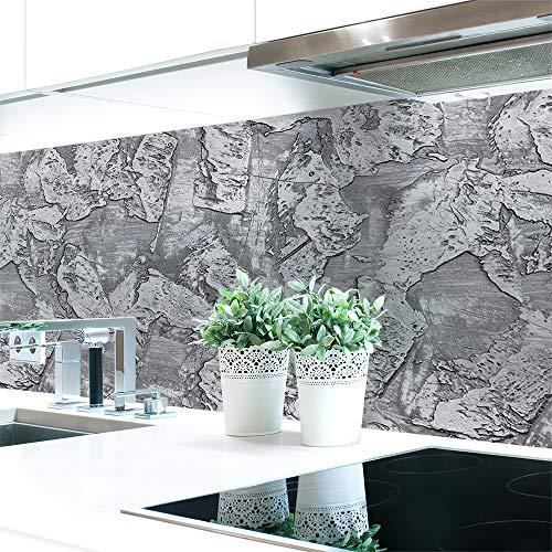 Küchenrückwand Spachtelstruktur Grau Premium Hart-PVC 0,4 mm selbstklebend - Direkt auf die Fliesen, Größe:Materialprobe A4