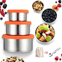 Janolia Stainless Steel Food Storage Containers, Eco Friendly Reusable Stackable Kids Lunch Snacks Boxes with Leak Proof…