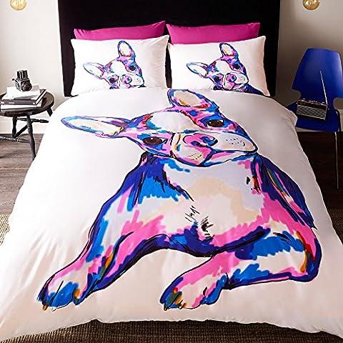 # Bedding Quirky Buster Set Copripiumino con disegno cane illustrato, Policotone, Multicolore, Doppio