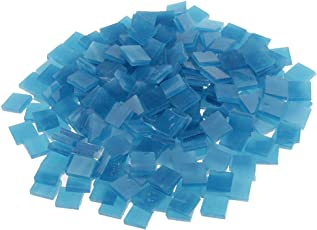 Segolike 250 Pieces Colorful Square Vitreous Glass Mosaic Tiles Pieces for DIY Art and Crafts Supplies 10x10mm - lake blue