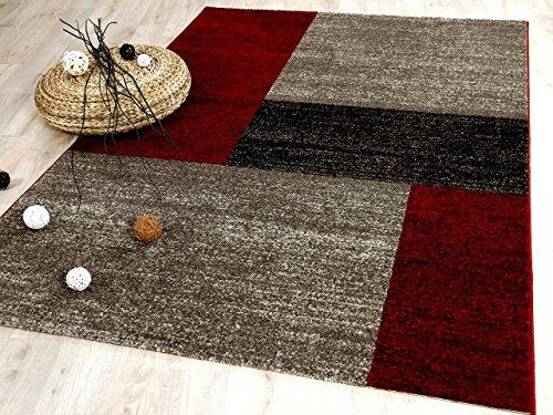 Tango Designer Teppich Rot Beige Trend in 5 Größen REDUZIERT