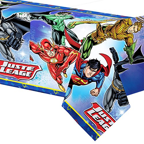 Jungen Mädchen Geburtstag Party Feier Papier Geschirr Dekorationen Gerechtigkeitsliga Batman Superman Aquaman Flash Green Lantern (Tischtuch)