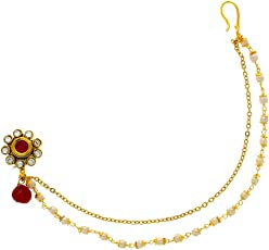 Anuradha Art Golden Finish Red Colour Designer Traditional Padmavati Styled Studs Dulhan Nose Ring/Pin For Women/Girls