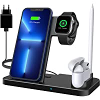 Wireless Charger, 4 in 1 Induktive ladestation mit 18W Fast Adapter für Apple Watch 7/6/SE/5/4, AirPods pro/2/1…