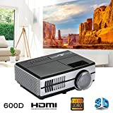 hongfei 3D Lumens LCD Mini Projector, Multimedia Home Theater Video Projector Support 1080P