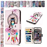 E-Mandala iPhone 5 5S SE Hülle Leder Flip Case Wallet Tasche handyhüllen Silikon 3D Muster Schutzhülle Lederhülle mit Kartenfach Klapphülle Handytasche - Eule Campanula