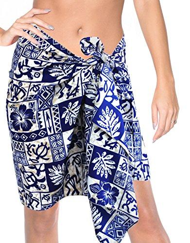Halb- mini Sarong Bikini-Wickelrock swimsuit Bademode Kleid verschleiern Amaing Blau