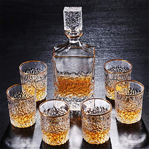 Jiashu processo di verniciatura in oro set regalo per decanter whiskey - bicchieri in cristallo europeo senza piombo a 7 pezzi, decanter classico con 6 eleganti bicchieri
