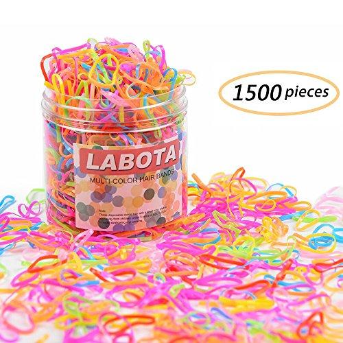 LABOTA 1500 Stück Mini Haargummis Mehrfarbige mit Freie Box für Kinder Mädchen