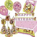 73-tlg. Deko-Set * PFERDE * für Kindergeburtstag und Motto-Party | mit Tischdecke + Partytüten + Trinkhalme + Girlande + Partyhütchen + Luftballons + Luftschlangen | Deko Kinder Geburtstag Mädchen
