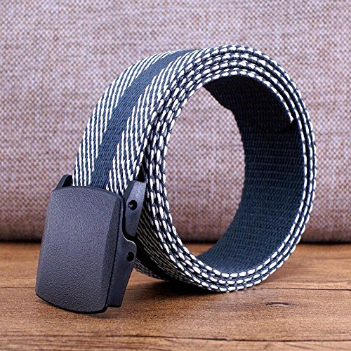 DS-HN Men and women generic plastic snap-in canvas belts no metal buckle belt through the security check automatic two-sided webbing extension