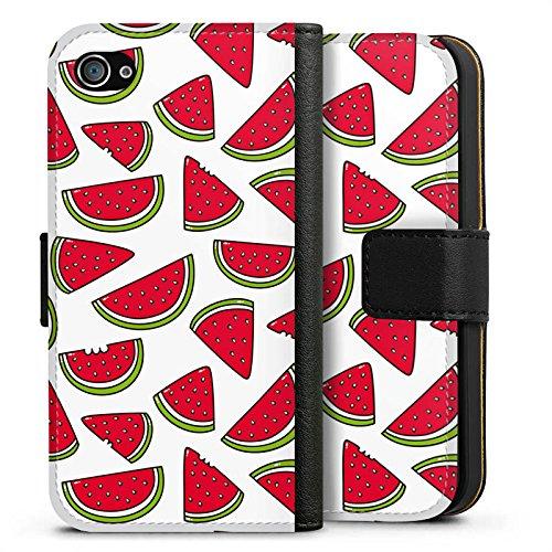 Apple iPhone X Silikon Hülle Case Schutzhülle Melone Sommer Essen Sideflip Tasche schwarz