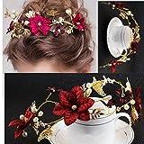 cuhair 1 serre-tête fait à la main en alliage avec feuilles d'or et fleurs rouges - Pour femme - Accesoire de mariage