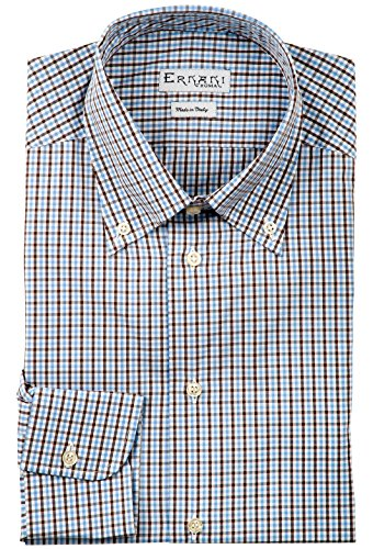 Ernani camicia popeline quadretti marroni e celesti regular fit, button down, uomo - made in italy -
