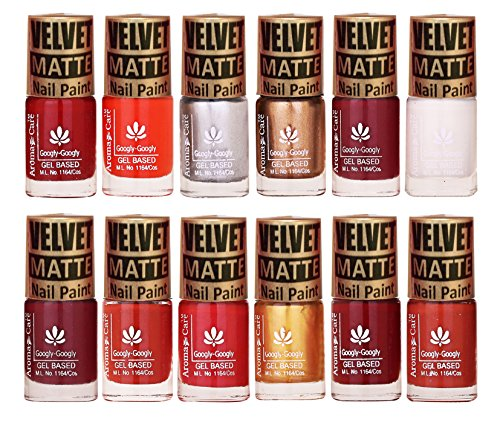Brand New Velvet Matte Nail Polish Sets of 12 Pcs 12 Colors First Time in India by Aroma Care, 6ml per bottle