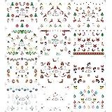 Blue Vessel 12 Blatt Weihnachten 3D Nagel-Kunst-Aufkleber Schneeflocken u Netter Schneemann Nagel-Abziehbilder (b)