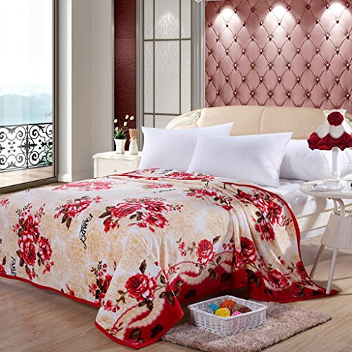 Kuscheldecken HMLIFE Beige warme Decke Polyester Material rote Blume Muster Schlafzimmer Bett Decke Wohnzimmer Freizeit Decke weich und komfortabel (größe : 200 * 230cm) (Blumen-bett-decke)
