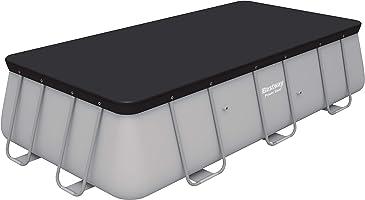 bestway- Flowclear PVC-Abdeckplane 396x185 cm, Grau, für Power Steel Pools 404x201x100 cm und 412x201x122 cm Telo di...