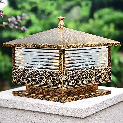 Corrugated Glas-Panels Säule Lampe - Traditionelle Victoria Beitrag Lichter |Wasserdichte im Freien Cap-Leuchten for Deck, Terrasse, Garten, Dekor oder Zaun |Öl-gebürstet Bronze-Finish -